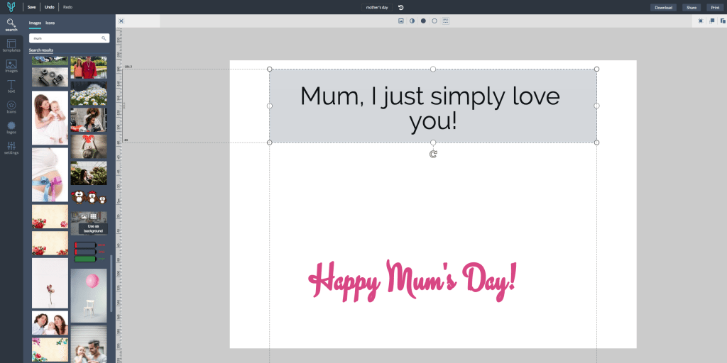 Design card for mum