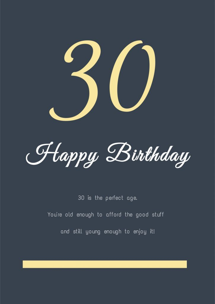 30 Years Old Birthday Card Template