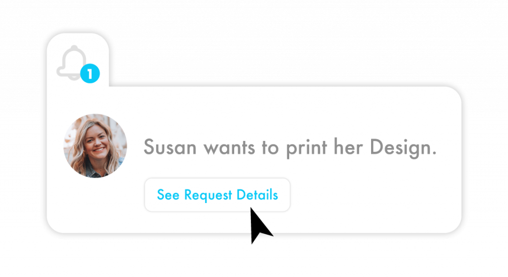 a manager is viewing the details of a print request from susan in order to accept her request
