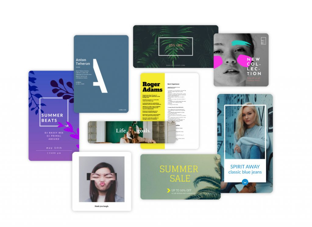 A bunch of Desygner templates such as resumes, flyers, social posts, and discounts.