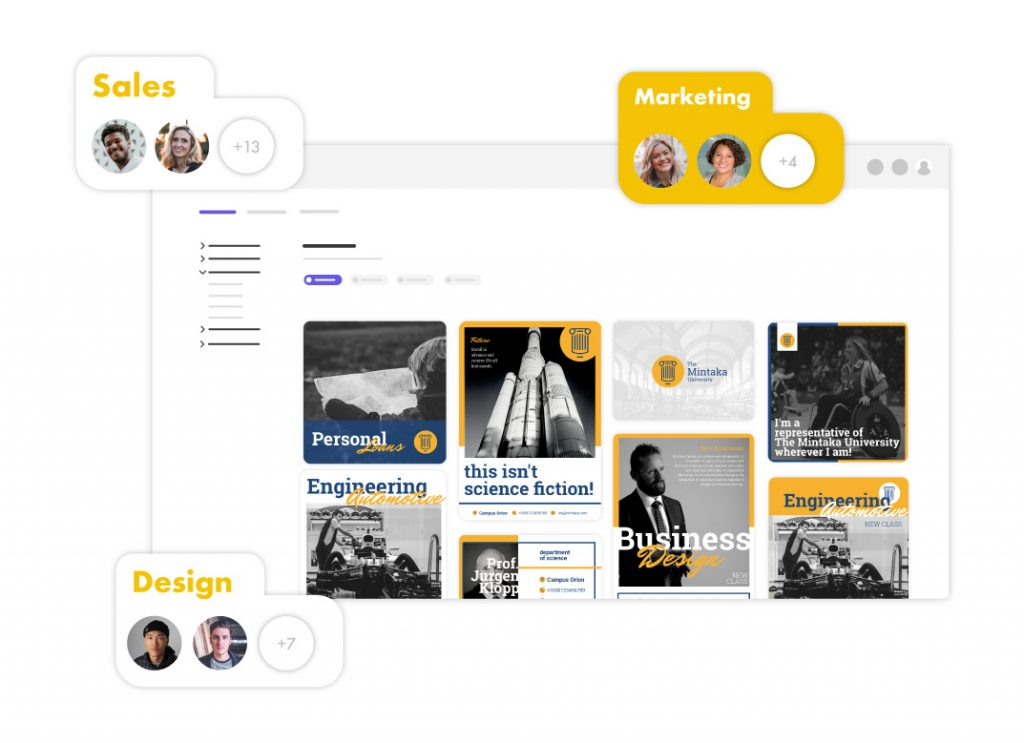 The marketing team, sales team & design Team are using a marketing hub system for their projects
