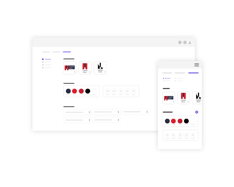 The Brand Asset tool showing how the colors, logos, images, and fonts are organized on Web and App