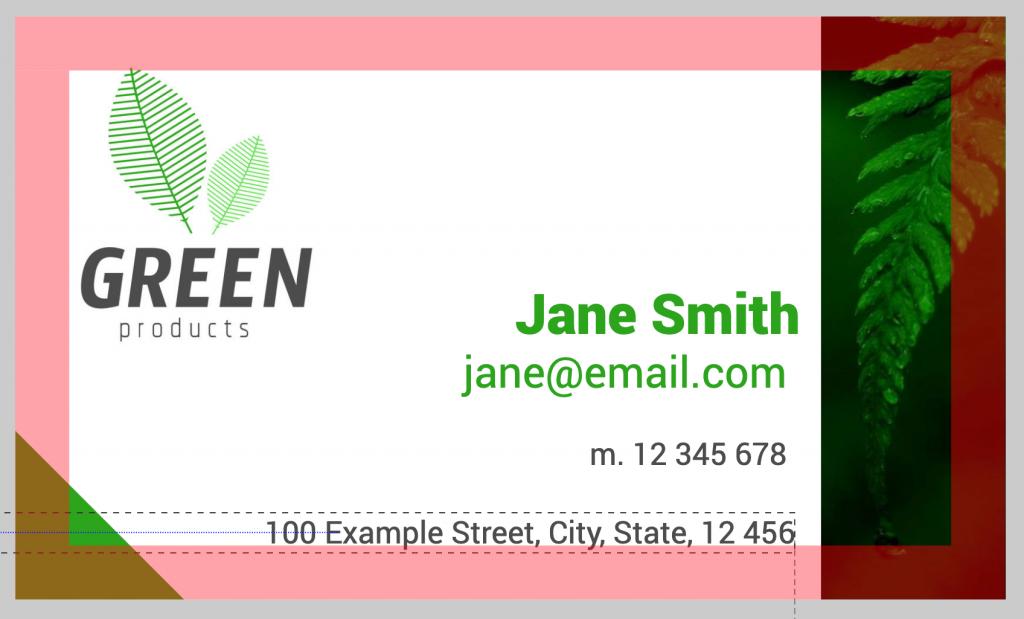 business card safe area