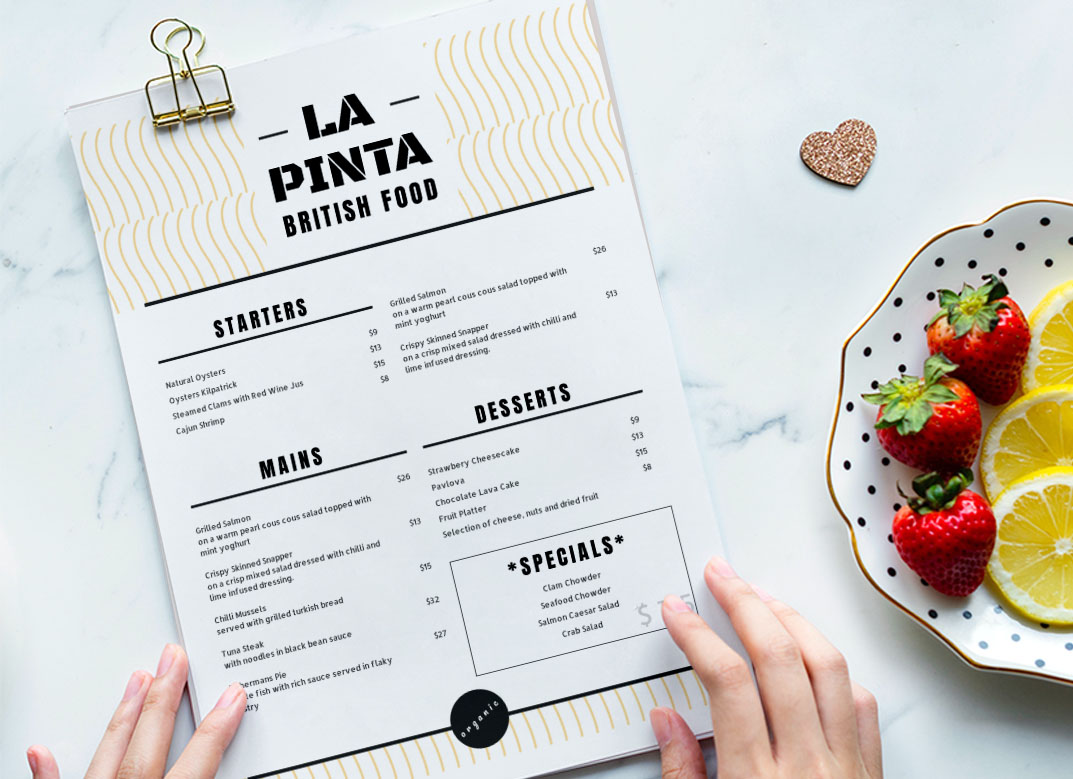 Printed White & Black Menu - La Pinta. The menu is with a plate of strawberry and lemon
