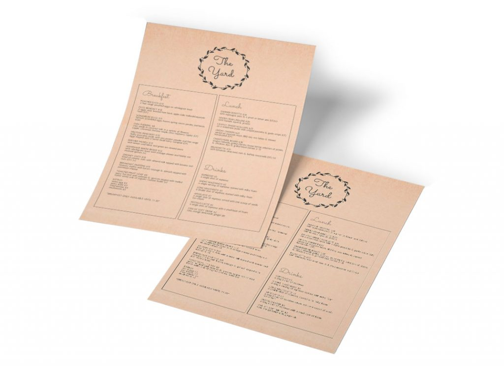 Print on Demand Menus