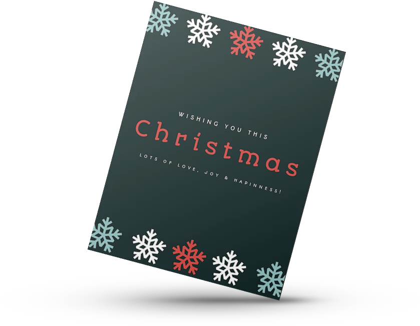 Black and Red Printed Christmas Card