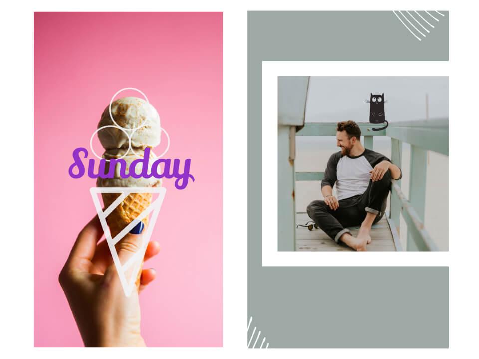 historia para instagram rosa con iconos de helado y gatos